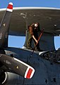 US Navy 040607-N-5549O-044 Aviation Electrician's Mate Dawson Lorton, from Bartlesville, Okla., participates in a wash-down of an E-2C Hawkeye.jpg