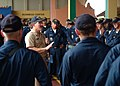 US Navy 050806-N-0962S-211 Master Chief Petty Officer of the Navy (MCPON) Terry Scott speaks to U.S. Navy Sailors and U.S. Coast Guardsmen during an all hands call in Colon, Panama.jpg
