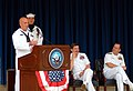 US Navy 060525-N-0962S-149 Hospital Corpsman 1st Class Jeromy M. Cronin delivers his remarks after being announced by Chief of Naval Operations (CNO) Adm. Mike Mullen as the 2006 CNO Shore Sailor of the Year.jpg