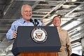 US Navy 070511-N-8175C-179 Vice President Dick Cheney addresses nearly 4,000 Sailors and Marines in the hangar bay aboard Nimitz-class aircraft carrier USS John C. Stennis (CVN 74), with Rear Adm. Kevin Quinn, USS John C. Stenn.jpg