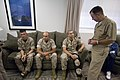 US Navy 070718-N-0696M-307 Chief of Naval Operations (CNO) Adm. Mike Mullen speaks with Marines assigned to the wounded warrior barracks at Naval Medical Hospital Balboa.jpg