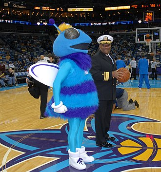 Hugo (mascot) - Rear Adm. Victor G. Guillory and the mascot for the New Orleans Hornets