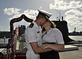 US Navy 111223-N-UK333-100 Lt. j.g. Cosmas Samaritis is greeted with a kiss from his wife as he disembarks the Virginia-class submarine USS Texas (.jpg