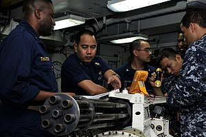 US Navy 120106-N-ZI635-149 Sailors assigned to the aircraft intermediate maintenance department aboard the Nimitz-class aircraft carrier USS Carl V.jpg