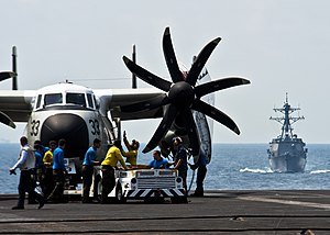 US Navy 120130-N-BT887-353 Sailors prepare to move a C-2A Greyhound from the Providers of Fleet Logistics Combat Support Squadron (VRC) 30 aboard t.jpg