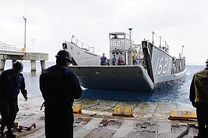 US Navy 120202-N-WV964-082 Landing Craft Utility 1627 leaves the well deck of the forward-deployed amphibious dock landing ship USS Germantown (LSD.jpg