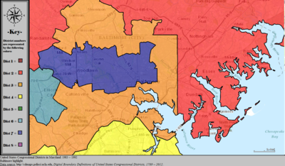 United States Congressional Districts In Maryland Metro Highlight 1983 1992 Tiff