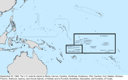 Map of the change to the United States in the Pacific Ocean on September 23, 1983