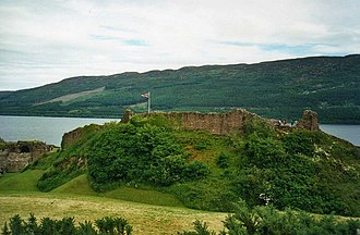 """Urquhart Castle - The remains of the 13th-century """"shell keep"""" or motte is the earliest part of the castle to survive"""