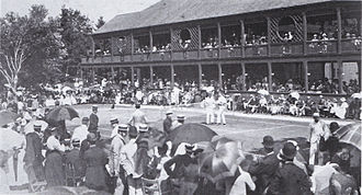 1890 U.S. National Championships (tennis) - Image: Us championships 1890 semifinal campbell vs huntington