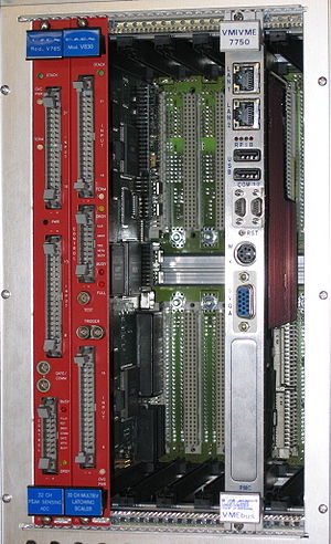 VMEbus - VME64 crate with, from left, an ADC module, a scaler module and a processor module