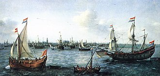 Flyboat - The Harbour in Amsterdam (1630) by Hendrick Cornelisz Vroom; Vlieboot (Flyboat) on the left, Galleon on the right