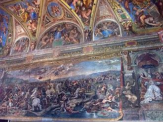 The Battle of the Milvian Bridge (Giulio Romano) - Image: Vatican Apostolic Palace Battle of Milvian Bridge