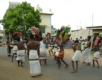 Hindu devotees engaging in Kavadi at a temple in Vavuniya Vavuniya Kavadi.JPG
