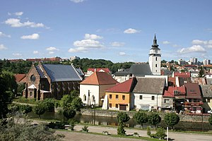Velké Meziříčí - Centre of the town from north with the two synagogues and the church