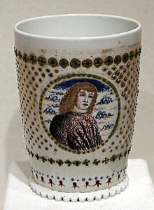 white cup with picture of man