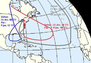 Equivalent potential temperature - Back trajectories of air masses between December 31, 1997, and January 1998 which caused the North American Ice Storm of 1998