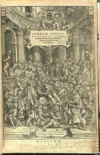 Medical Renaissance - The front cover illustration of De Humani Corporis Fabrica, On the Fabric of the Human Body, written by Andreas Vesalius, showing a public dissection being carried out by Vesalius himself.