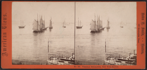 Vessels becalmed, New York Harbor, by Soule, John P., 1827-1904