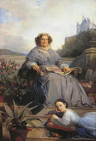 Veuve Clicquot - Portrait of Madame Clicquot and her great-granddaughter Anne de Rochechouart-Mortemart by Léon Cogniet.