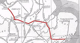 Via Devana - Roman Britain, with the Via Devana highlighted in red.