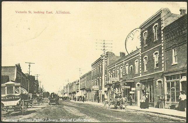Victoria Street, looking east, Alliston, Ontario, Canada (1910)