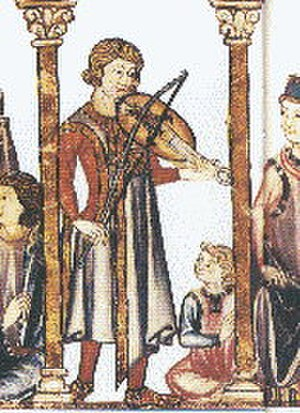 Classical music - Musician playing the vielle (fourteenth-century Medieval manuscript)