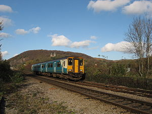 Merthyr line - An Arriva Trains Wales Class 150, with Castell Coch in the background