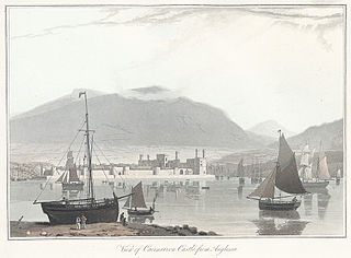View of Caernarvon Castle, from Anglesea