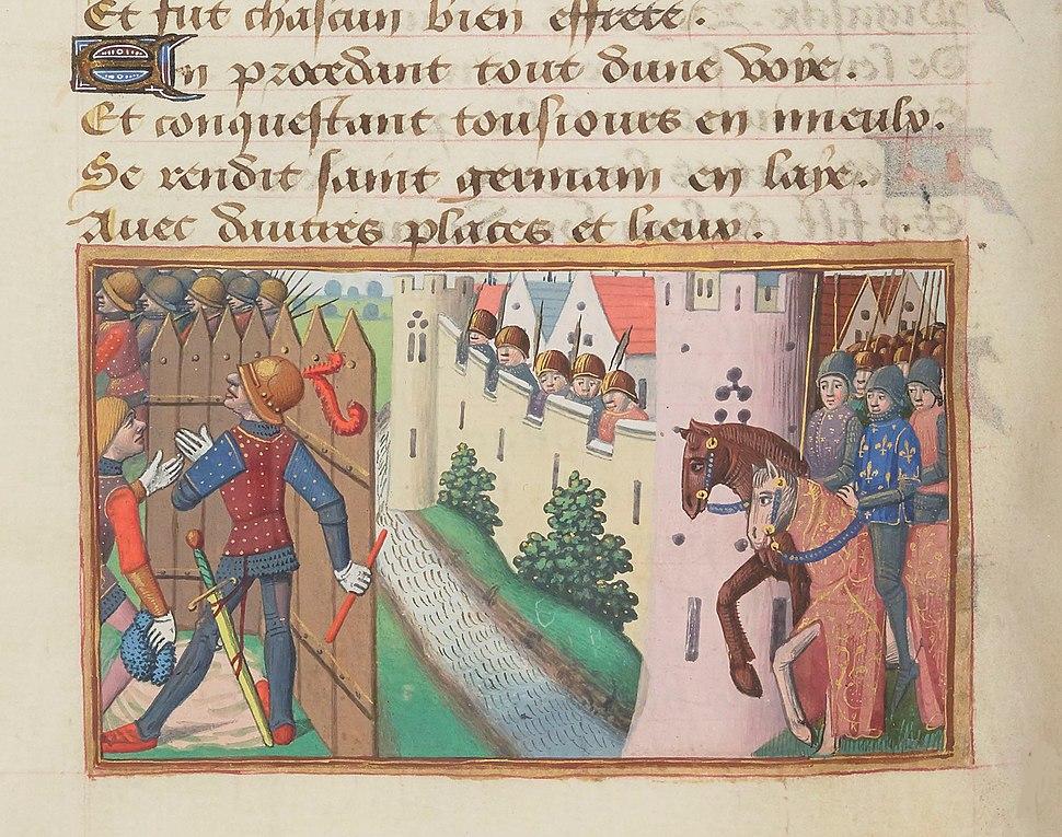 Vigiles de Charles VII, fol. 90v, Siège de Calais (1436)