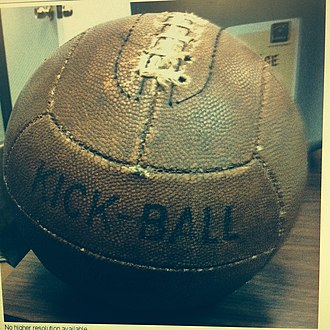 Kickball - Example of a vintage kickball. This example is manufactured by Hutch Sporting Goods Inc. Cincinnati, Ohio, USA.