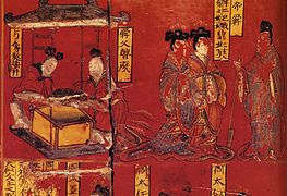 Virtuous women in Cathayan history. Lacquer painting over wood, Northern Wei.jpg