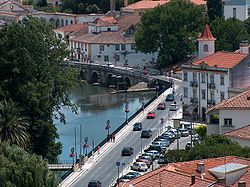 View of the old town of Tomar and the Nabão river