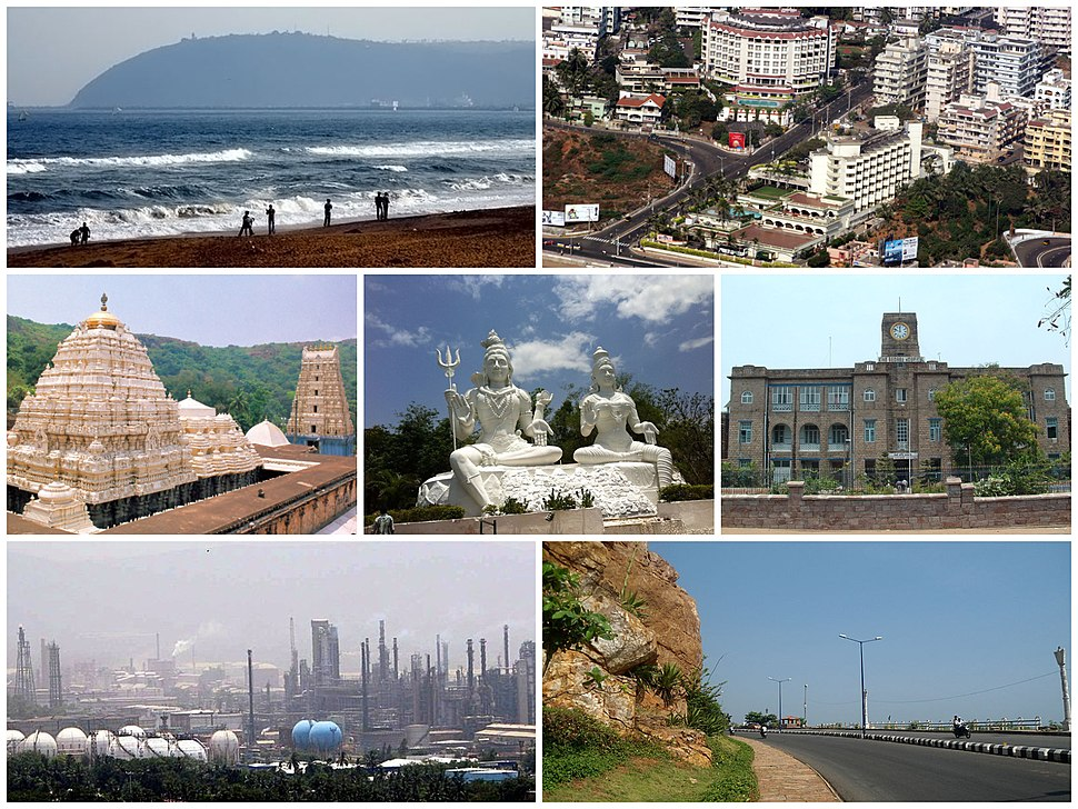 Top to bottom, left to right: A view of RK Beach, Nowrojee Road, Simhachalam Temple, Idols of Shiva and Parvati at Kailasagiri, King George Hospital, Visakhapatnam Port, Visakhapatnam Industrial Park, and the beach road at Tenneti Park