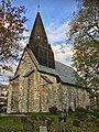 Voss Church (Voss kirke-kyrkje, Vangskyrkja) 13th-c stone church, Voss, Norway 2016-10-25 -10- back eastern wall, graveyard.jpg