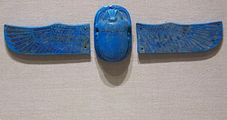 Scarab (artifact) - Scarab with Separate Wings, ca. 712-342 B.C.E., 49.28a-c, Brooklyn Museum