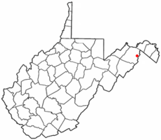 Location of Capon Bridge in West Virginia