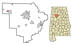 Location in Quận Walker, Alabama