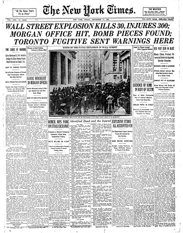 Cover of The New York Times reporting on the Wall Street bombing. Wallstreetbombing1920-page-001.jpg