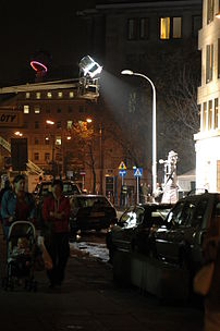 A film being made in Warsaw, Bracka street
