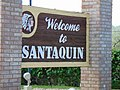 Welcome sign on East Main Street, Santaquin, Utah, May 16.jpg