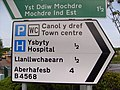Welsh spelling on road sign, Newtown, Powys - geograph.org.uk - 1319438.jpg