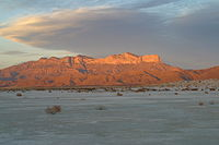 West face of Guadalupe Mountains at sunset 2006.jpg