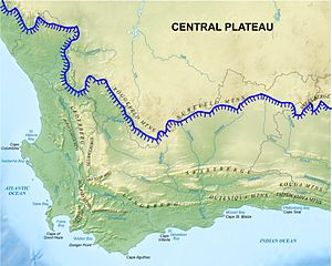 "Cape Fold Belt - Map of the Western Cape, showing the main Cape Fold Mountain ranges. The Cape Fold belt is not part of the Great Escarpment shown in blue: the Roggeveld, Nuweveld and Sneeuberg ""mountains"". They are geographically and geologically distinct from the Cape Fold Mountains. The remaining named mountain ranges, to the south and southwest of the Escarpment, are all part of the Cape Fold Belt, which extends to the east as far as Port Elizabeth, about 150 km beyond the right-hand edge of the map."