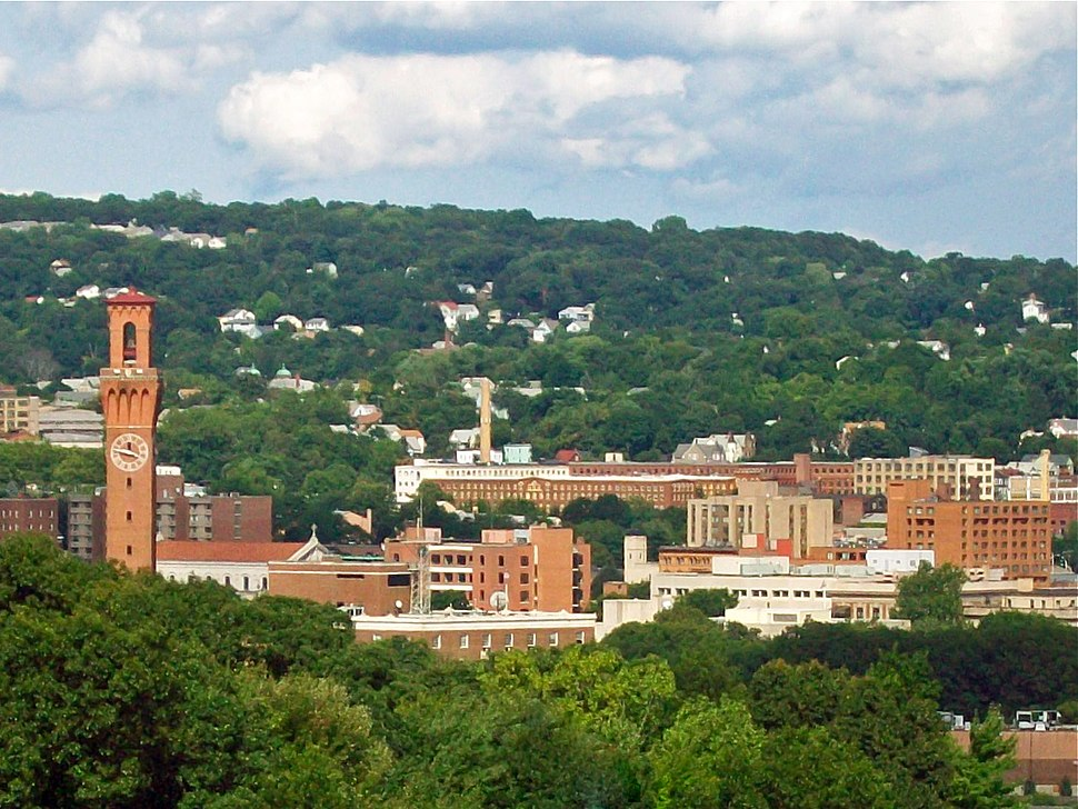 Waterbury skyline from the west, with Union Station clock tower at left