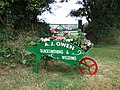 Wheelbarrow flower planter in Trecŵn, Pembrokeshire, Wales.jpg