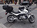 White BMW 1200R downtown Montpelier VT August 2018.jpg