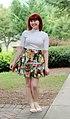 White Mock Neck Top, Handmade Colorful Star Trek Print Skirt, and White Sandals (20580352658).jpg