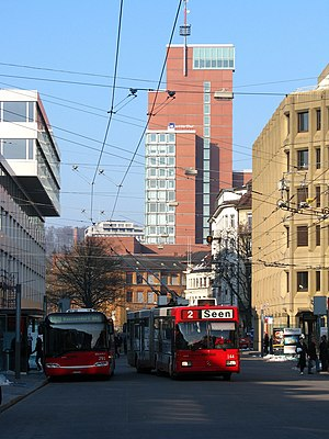 Winterthur railway station - Bus (left) and trolleybus (right), outside the station building, 2010