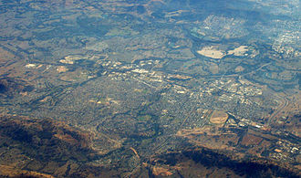 Albury–Wodonga - Aerial view of Wodonga, to the left of the stream of water